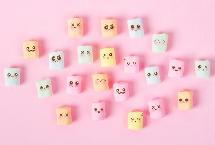 Marshmallows with Different Facial Expressions